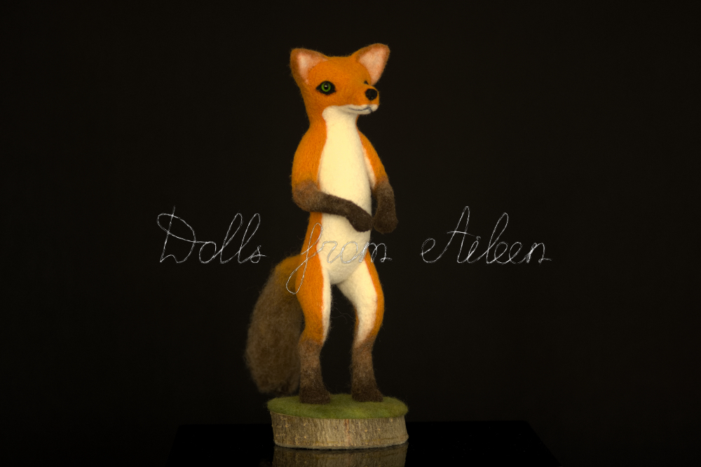 bare ooak needle felted fox sculpture, side view