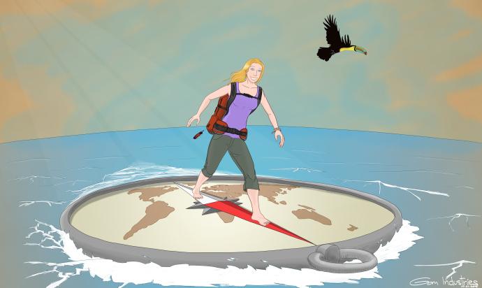 femme debout sur boussoles avec un toucan