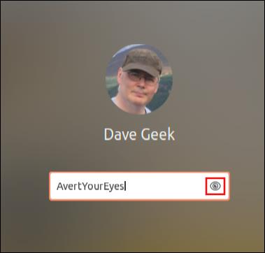 شاشة تسجيل الدخول Ubuntu 20.04 مع صورة المستخدم وخلفية سطح المكتب غير الواضحة ، والتي تظهر رمز العين في حقل كلمة المرور