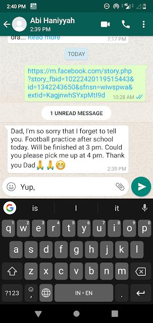 note via whatsapp dari ayah untuk anak