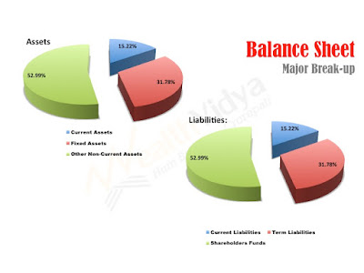Pie-chart depicting major break-up of assets and liabilities
