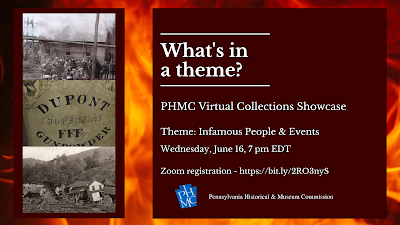 Program graphic for What's in a Theme? PHMC Virtual Collections Showcase - historic images of mine disasters and photo of gunpowder box