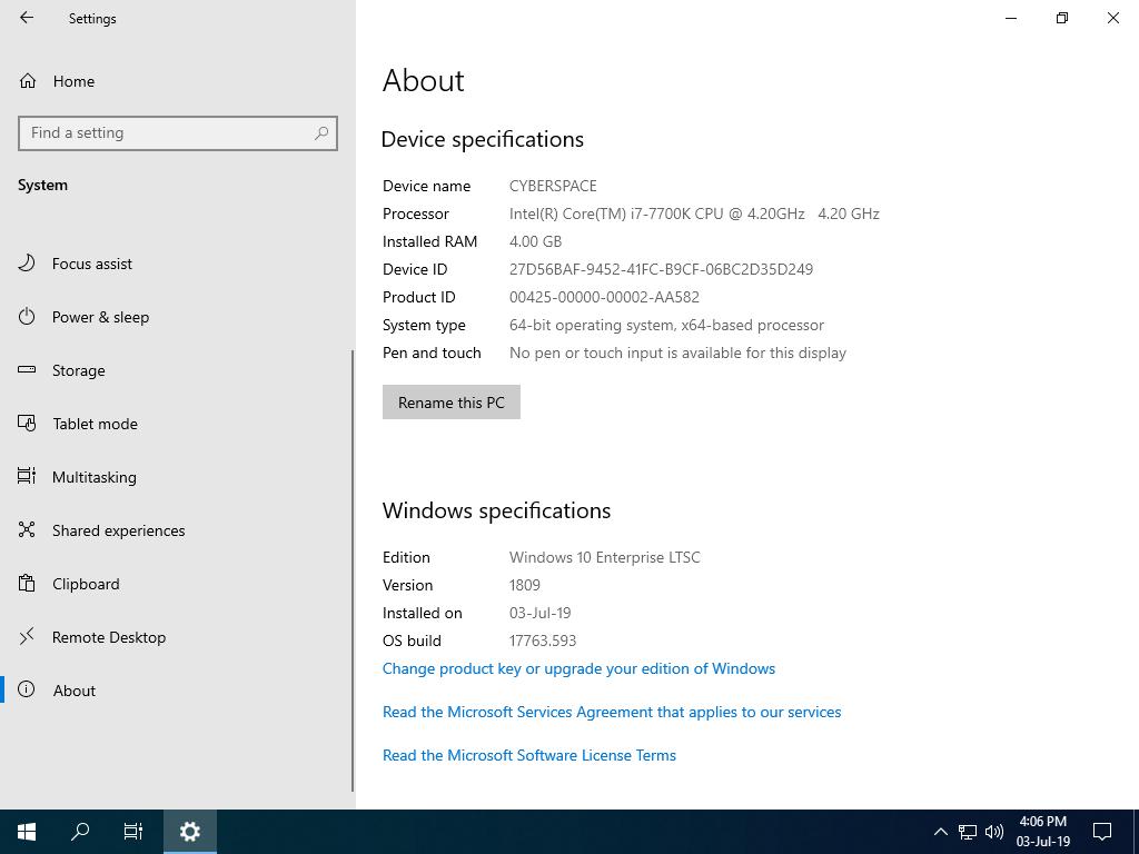 Windows 10 LTSC 2019 CyberSpace June'19 - CyberSpace