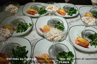 Vie quotidienne de FLaure: Verrines au fromage blanc agrémentées de surimi et saumon