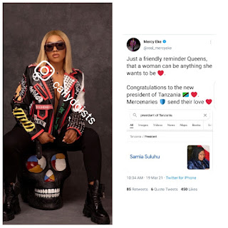 """""""A Woman Can Be Anything She Wants To Be"""" - BBNaija Mercy Says As She Congratulates Tanzanian New President"""
