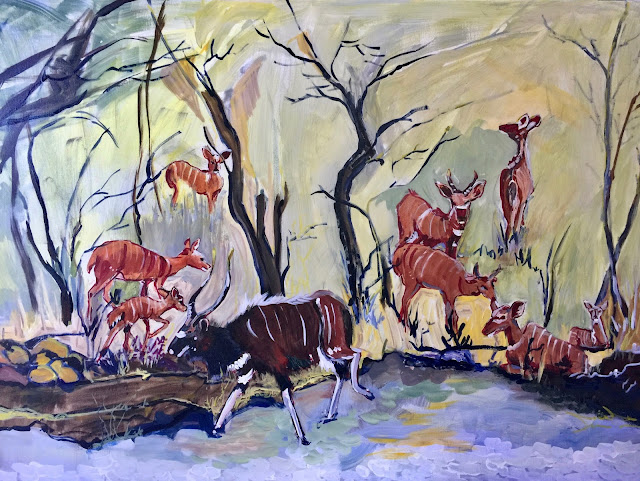 "Acrylic 36"" x 48"" painting of Nyalas by Michelle de Villiers"
