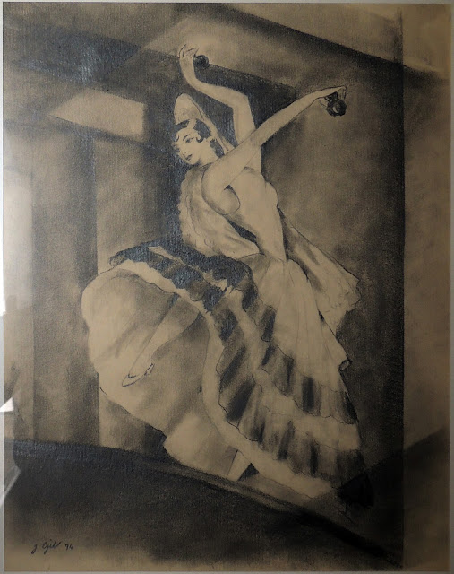 Joan Gil arte moderno dibujo al carboncillo bailarina flamenco
