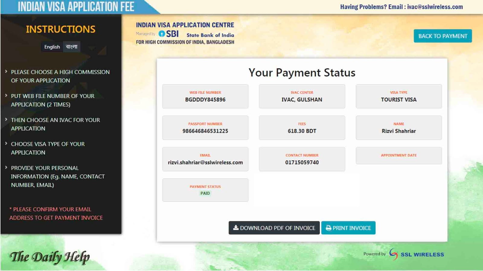 how to pay visa application fee online