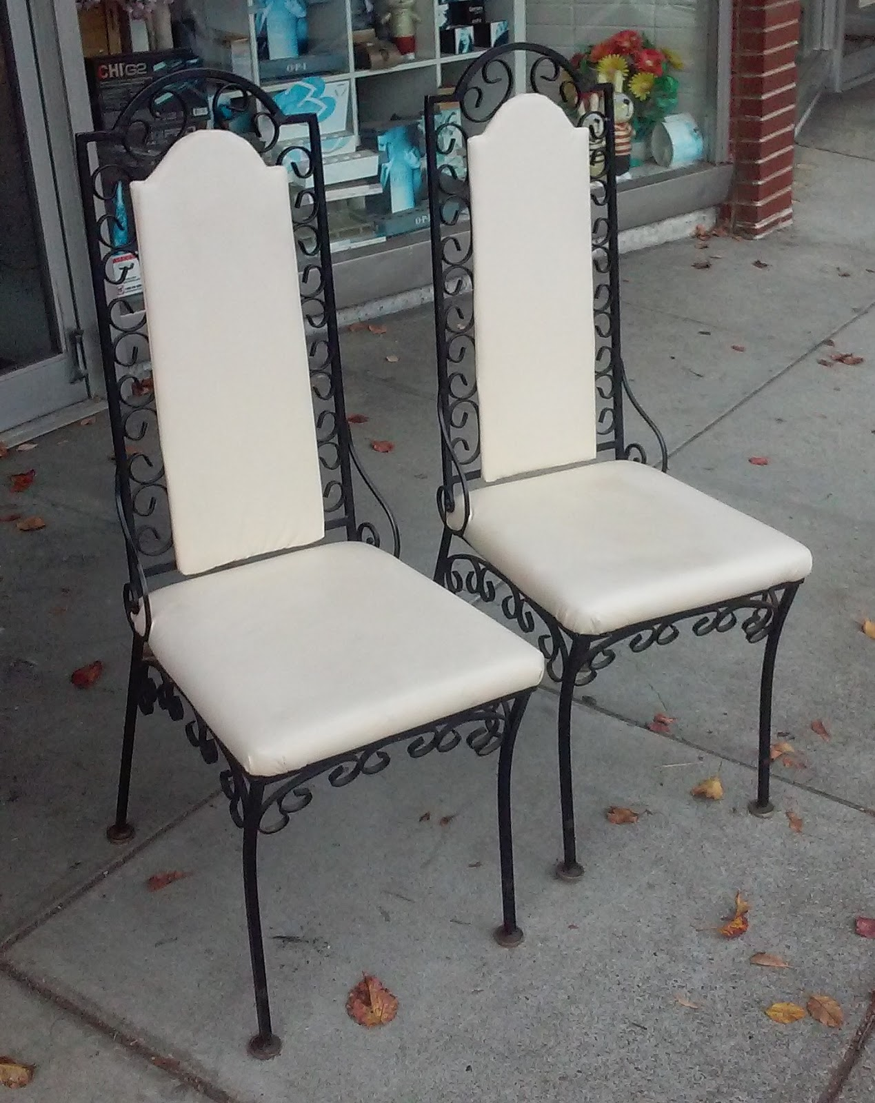 SOLD **BARGAIN BUY** #10128 Vintage Mediterranean Wrought Iron Side Chairs    $15 / Pair