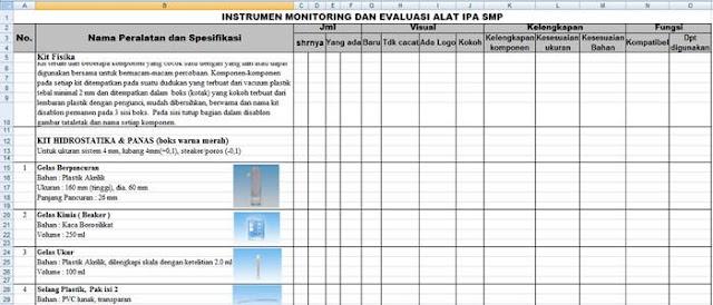 instrumen monev (monitoring & evaluasi) alat lab ipa smp