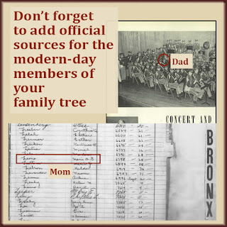 Marriage registers, yearbooks, newspaper clippings...these are official sources for your living relatives.