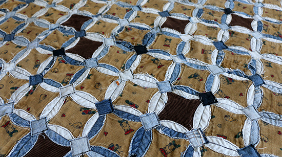 Denim Circles Quilt with Extra Squares of Denim Reinforcing Corners