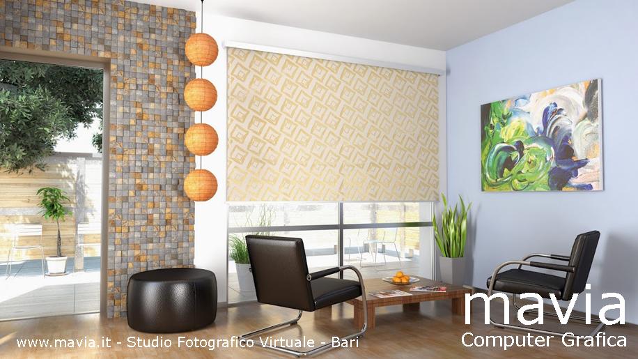 Arredamento di interni rendering 3d living room 3d rendering tende a pannelli in soggiorno for Soggiorno arredato