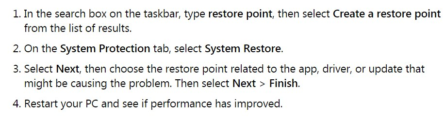 To restore your PC from a restore point