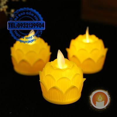 Nến hoa sen điện tử mini tim đèn lắc