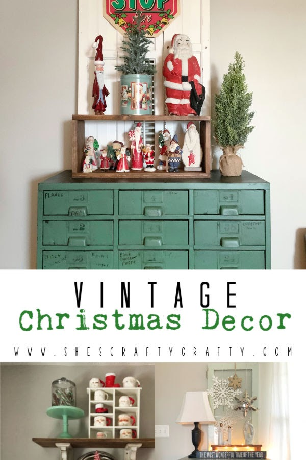 Vintage Christmas Decor Vignettes  |  see various ways to use vintage Christmas pieces in your home decor   |   She's Crafty