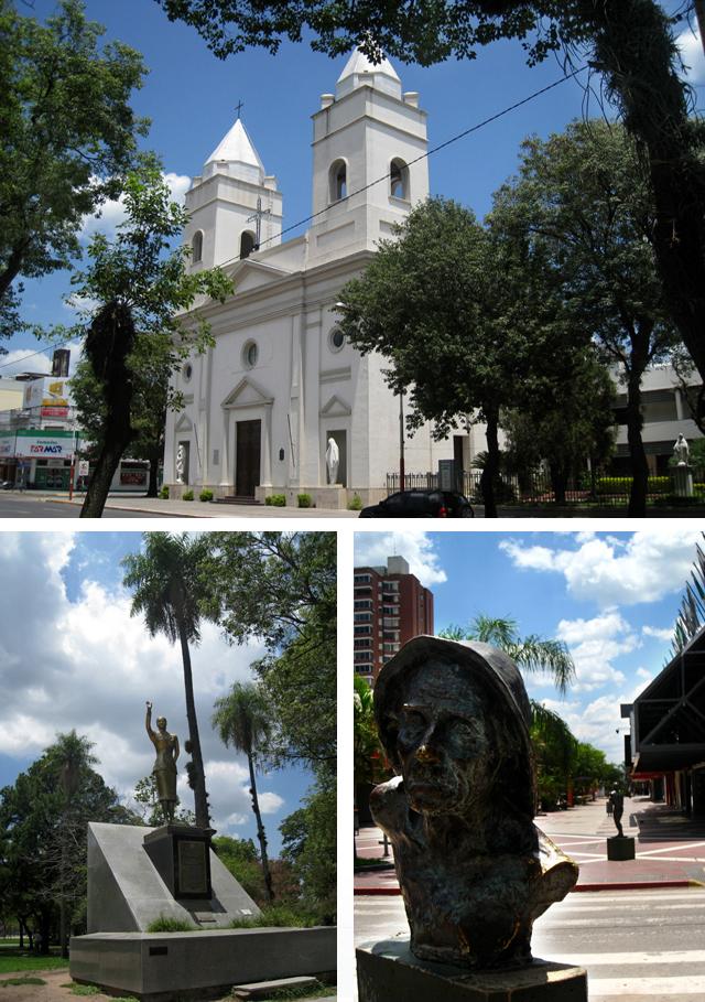 Arriba, la catedral de Resistencia; abajo, a la izquierda, una estatua de bronce de Eva Perón
