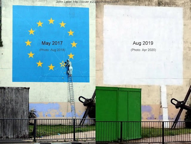 Banksy's Dover artwork appeared in 2017 and was painted over in 2019. The Fine Art Restoration Company say the damage is reversible. Mural appears on former King's Arms Library building built by William Batcheller. Georgian architecture of 1826.