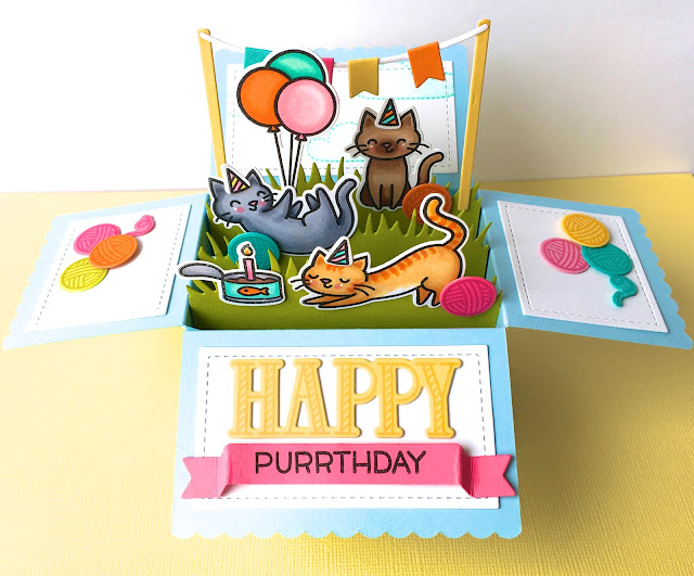 The Queens Scene Happy Purrthday Scalloped Box Card Pop Up