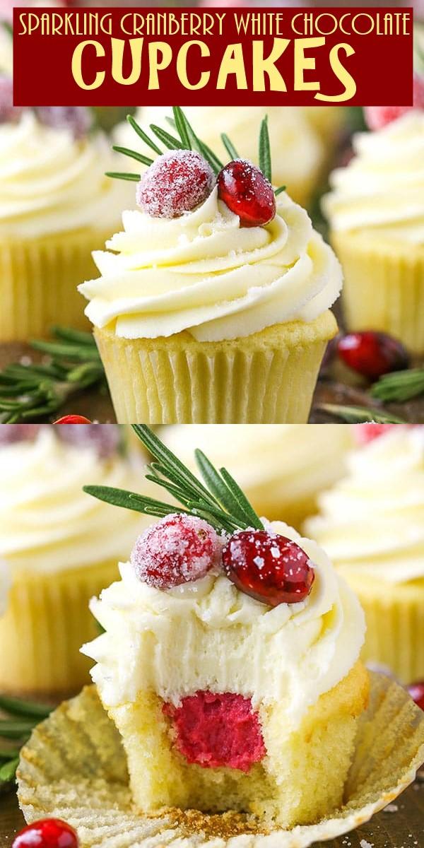 SPARKLING CRANBERRY WHITE CHOCOLATE CUPCAKES #cupcakerecipes