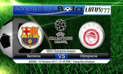 Prediksi Pertandingan antara Barcelona vs Olympiacos 19 Oktober 2017