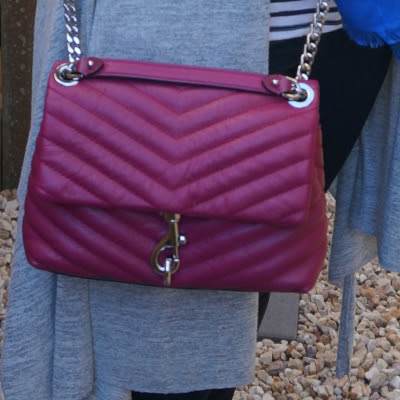 Rebecca Minkoff Edie small crossbody bag in magenta pink with grey cardigan | awayfromtheblue