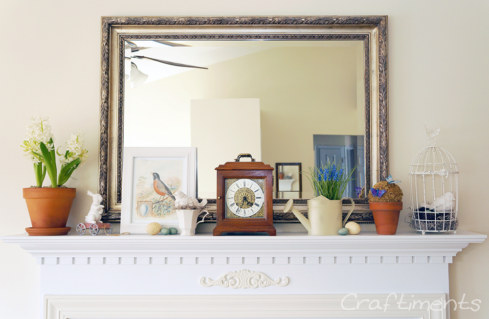 Spring Easter mantel featuring hyacinth bulbs and birds