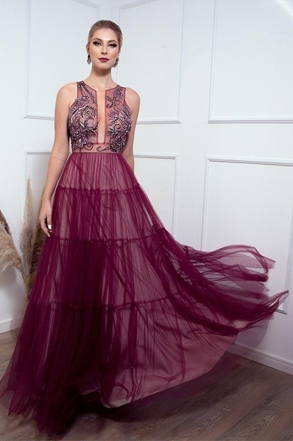 vestido longo uva vinho para madrinha de casamento