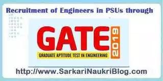 Recruitment in PSU by GATE 2019