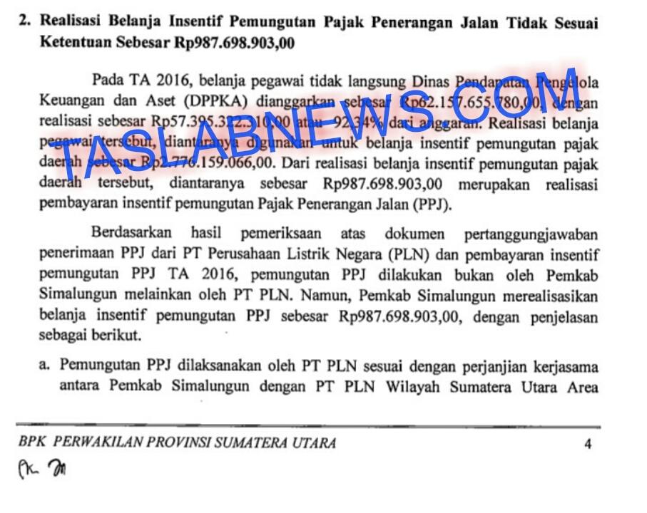 Hasil audit BPK atas keuangan Pemkab Simalungun.