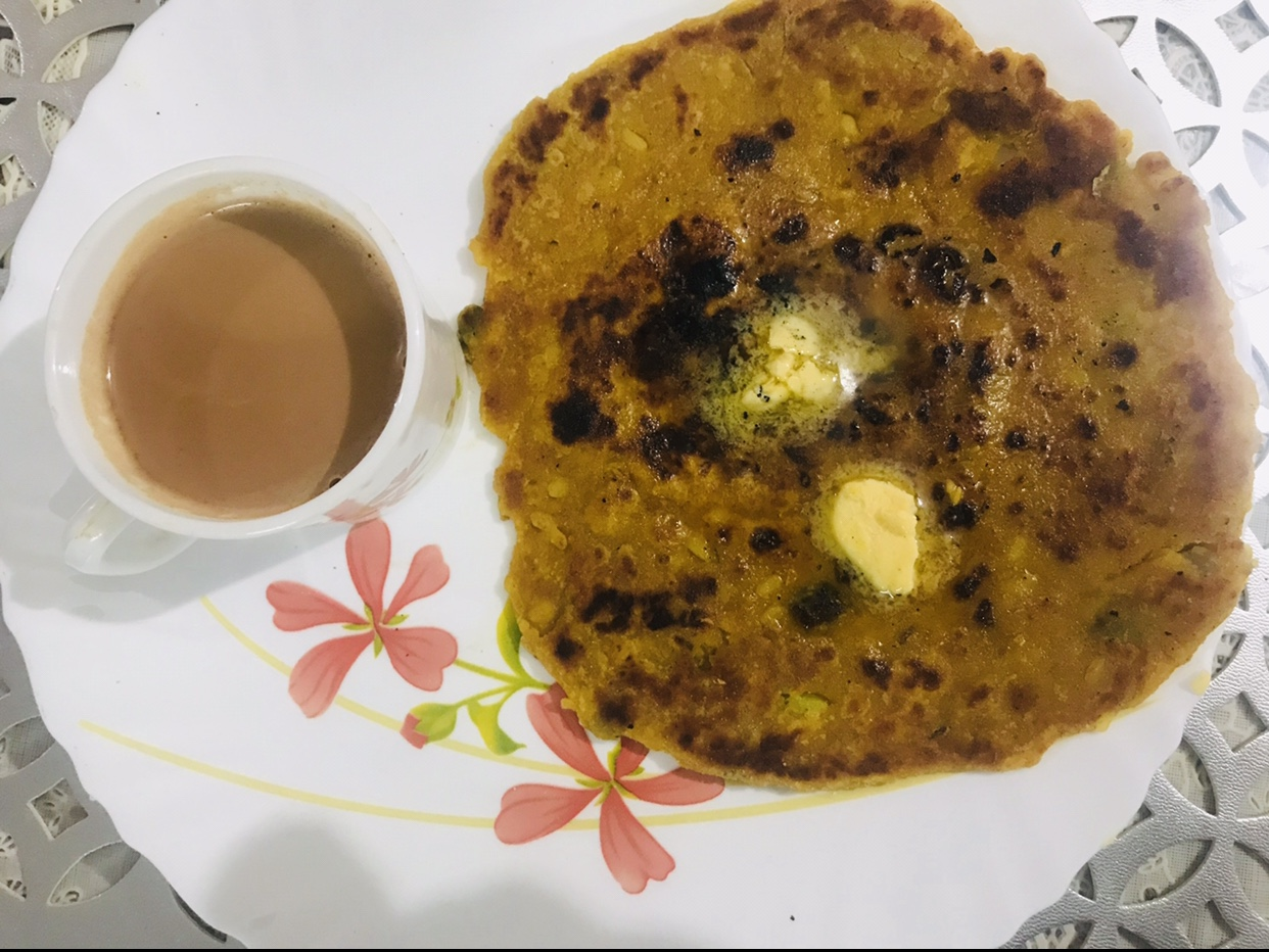 moong masoor dal parta with masala tea