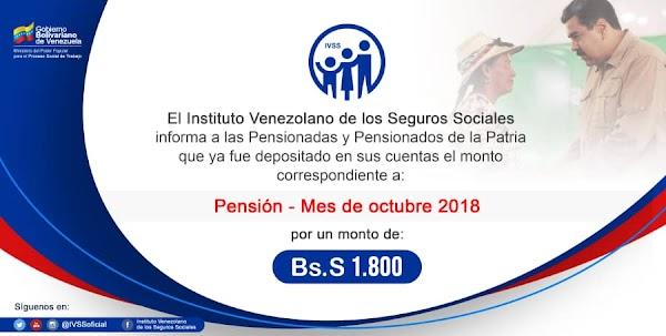 Este viernes 28 de Septiembre se pago pensión de Octubre 2018 a los inscritos en el  IVSS