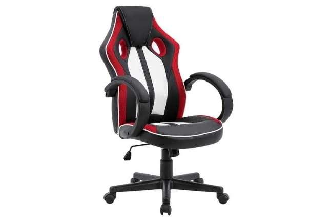 Cadeira Gamer Royale Preto, Branco e Vermelho com Regulagem de altura