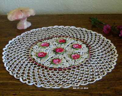 irish Crochet Roses in White Picot Lace Doily by RSS Designs In Fiber
