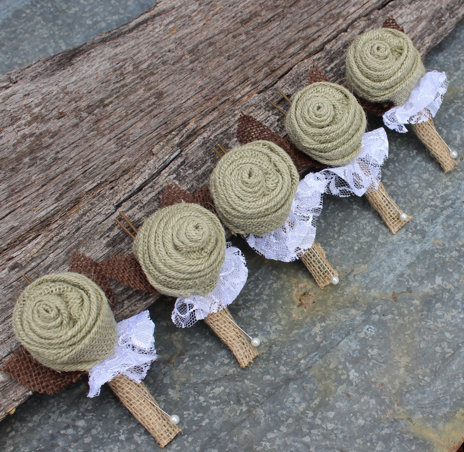 burlap boutonniere for groom and groomsmen