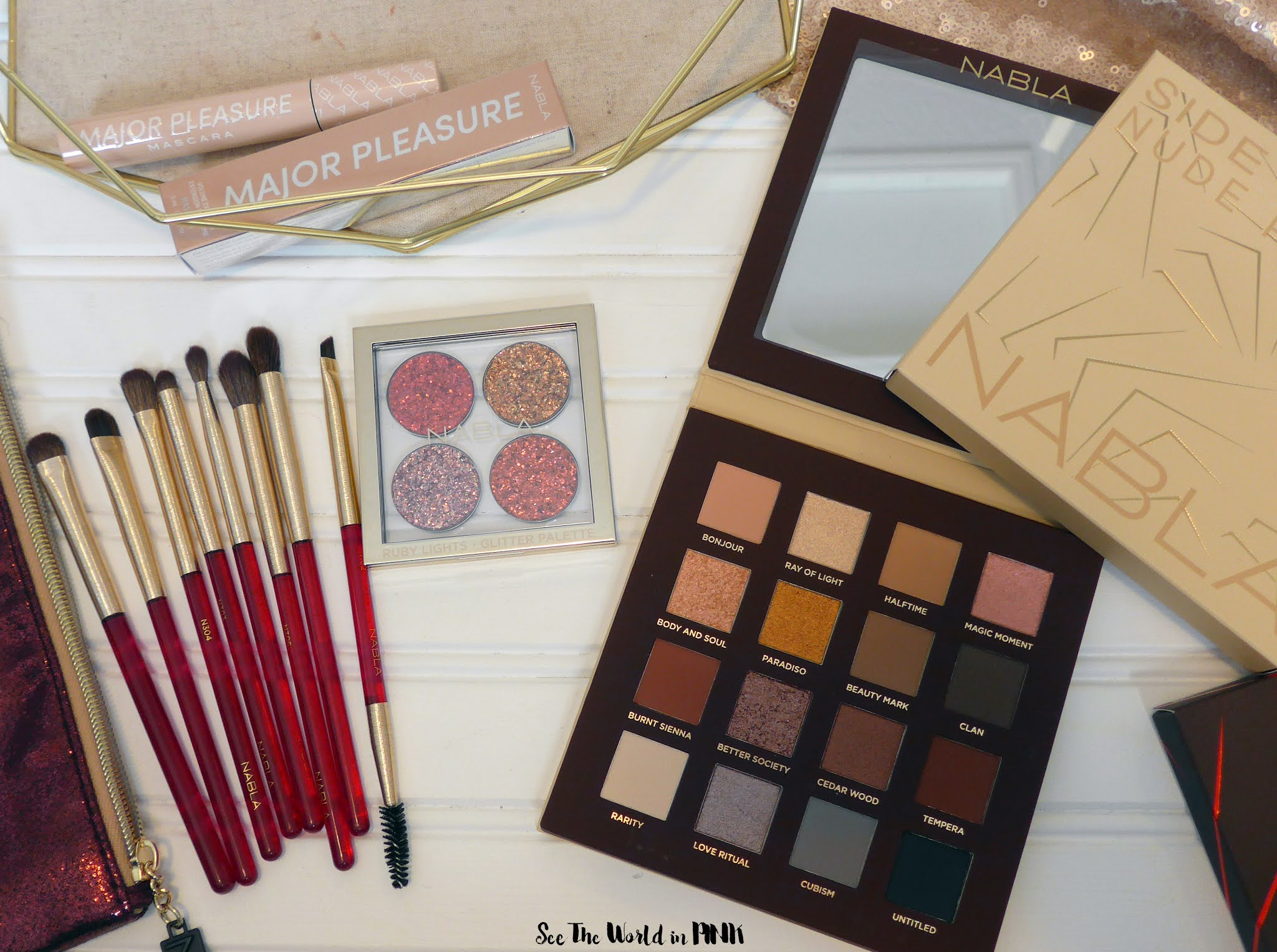 Nabla Side by Side Eyeshadow Palette, Ruby Lights Glitter Quad, Major Pleasure Mascara and Ruby Brush Set