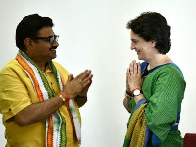 Smriti Irani Man Joins Congress Priyanka Gandhi In Uttar Pradesh