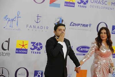 محمد هنيدى, زوجة محمد هنيدى, السجادة الحمراء, مهرجان الجونة السينمائى,