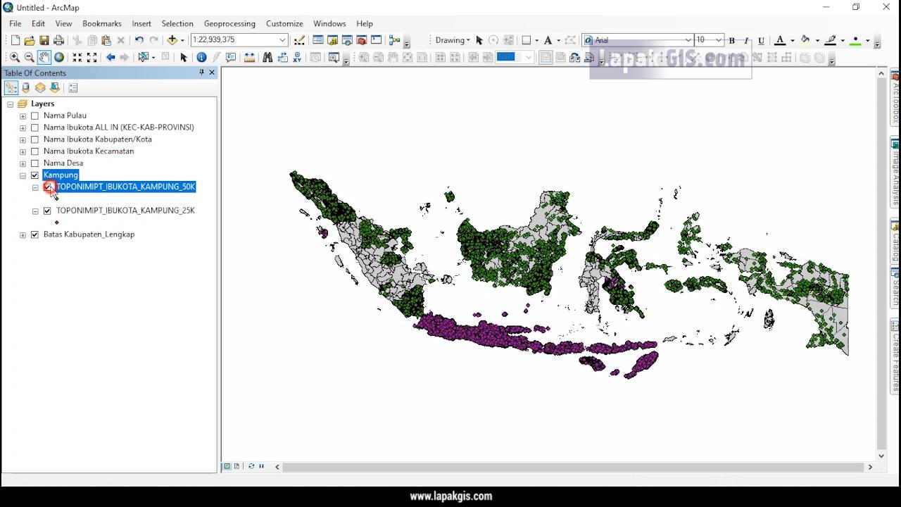 SHP Toponimi Nama Ibukota Seluruh Tingkat Wilayah Indonesia