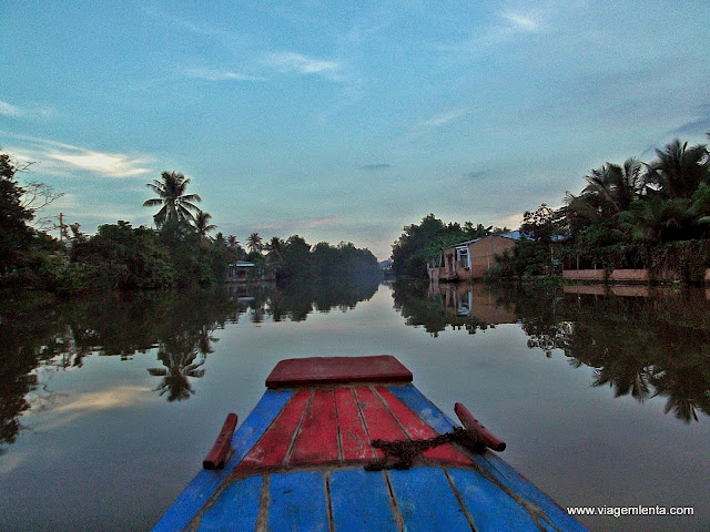 Chegando na homestay ao final da tarde no delta do Rio Mekong
