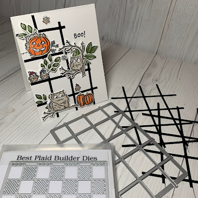 Elements from the Best Plaid Builder Die used on Halloween Card