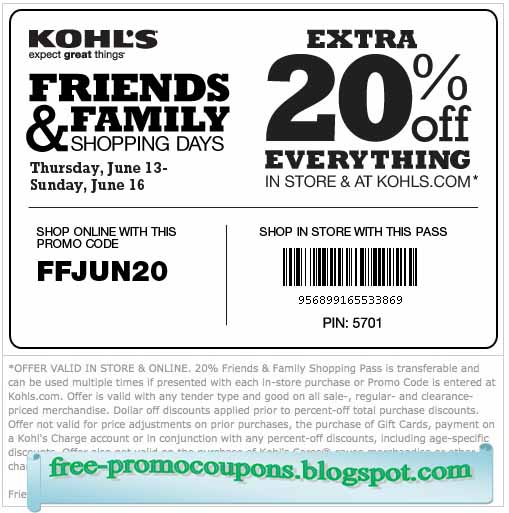 Free coupons for kohls printable
