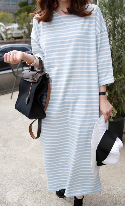Striped Straight Cut Midaxi Dress
