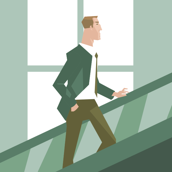 Un hombre de negocios subiendo unas escaleras mecánicas en una gran empresa o en la bolsa