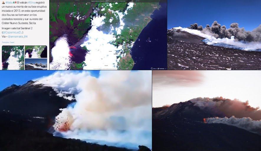 Eruzione Vulcano ETNA: 2 nuove fratture si sono aperte nel cratere - VIDEO.