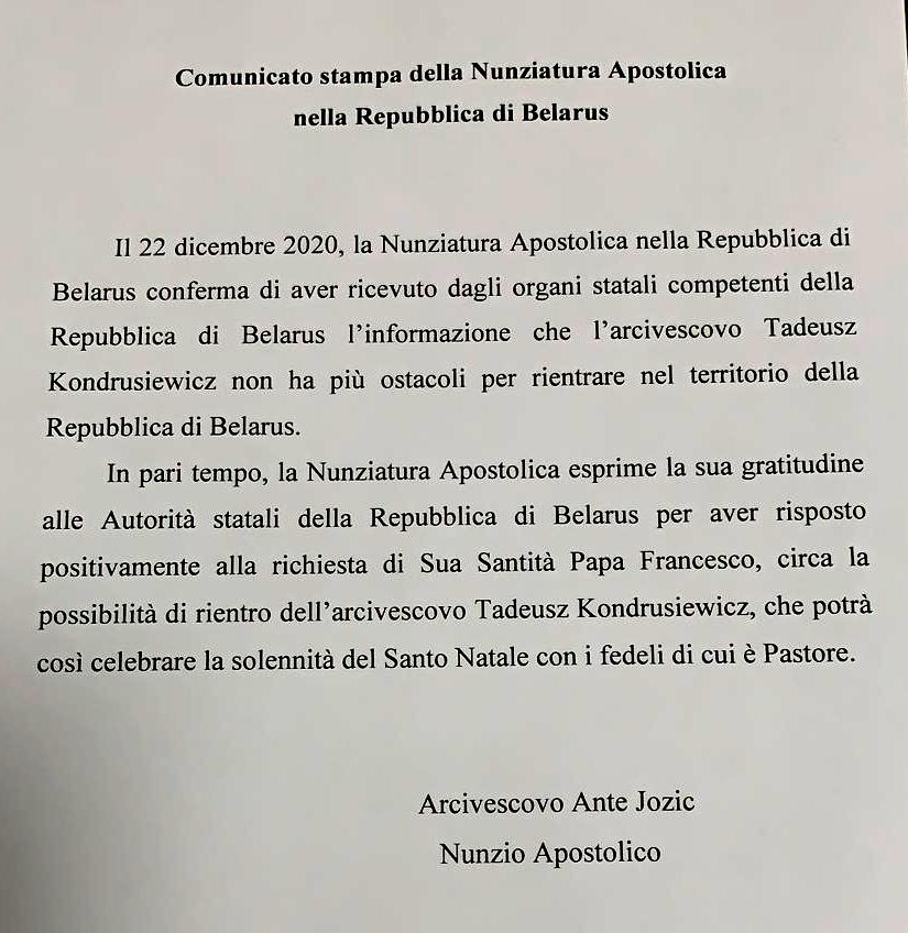 Nota de la Nunciatura