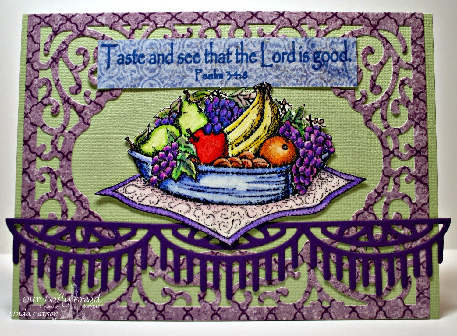 ODBD, Fruit of the Spirt, Vintage Flourish Pattern die, Beautiful Border die, Christian Faith Collection Paper, designer Linda Carson