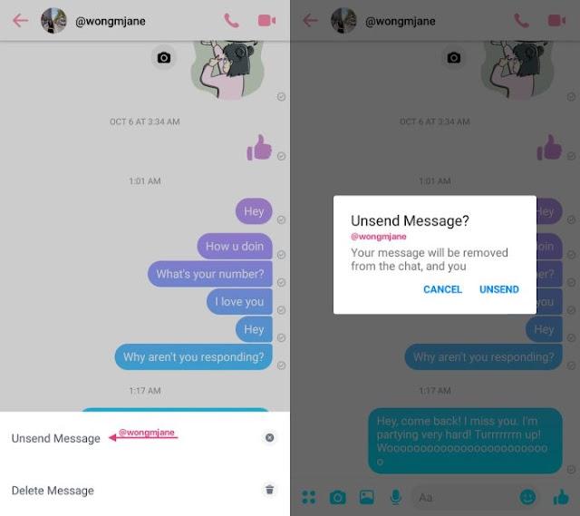 UnSend message in Facebook Messenger