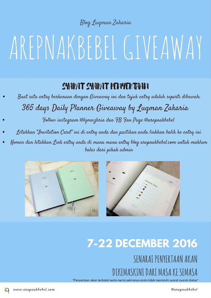 365 days Daily Planner Giveaway by Luqman Zakaria