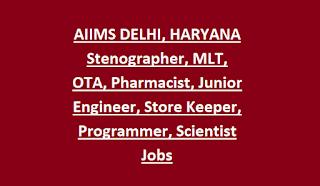 AIIMS DELHI, HARYANA Stenographer, MLT, OTA, Pharmacist, Junior Engineer, Store Keeper, Programmer, Scientist Jobs